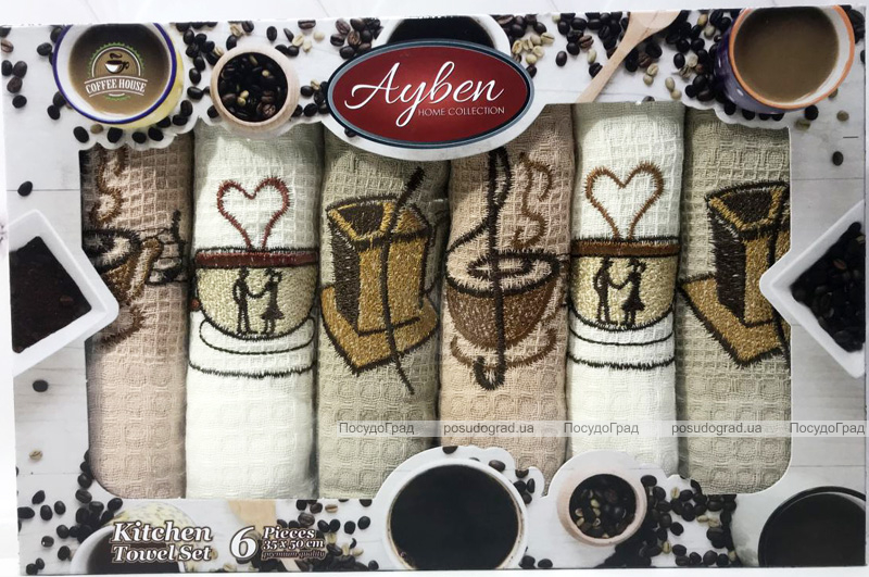 Набір 6 кухонних рушників Ayben «Love Melody» 38х58см, вафельні