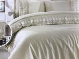 Комплект постельного белья Gardine's Gul Bej (Евро), сатин с гипюром