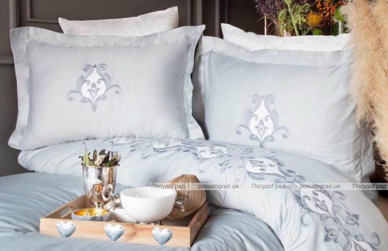Комплект постельного белья Pupilla Diamond Mavi (евро), сатин с вышивкой