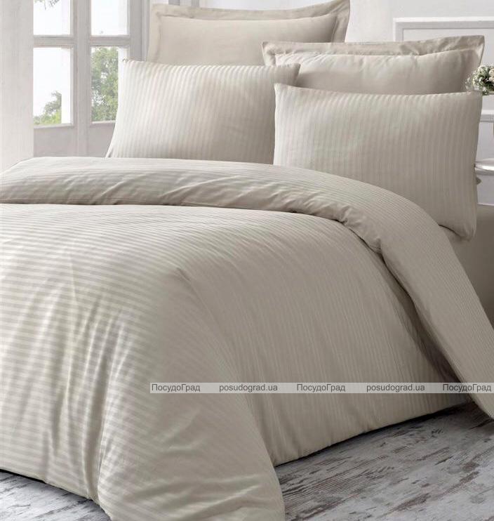 Комплект постільної білизни Vicoria Line Beige (євро) страйп-сатин