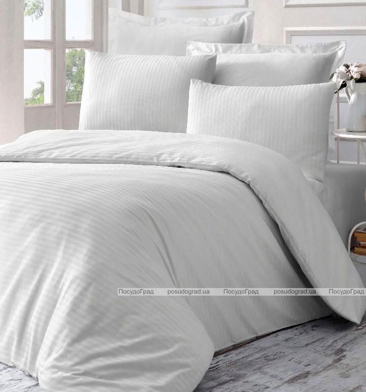 Комплект постільної білизни Victoria Line White (євро) страйп-сатин