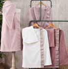 Жіночий набір рушників Pupilla Flor для сауни: рушник-спідниця на липучці, чалма, капці
