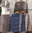 Чоловічий набір рушників Pupilla Flor для сауни: рушник на липучці, лицьовий рушник, капці