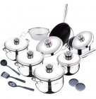 Набор кухонной посуды Swiss Gold Regal со стальными крышками и термодатчиками, 18 предметов