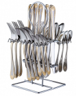 Столовый набор на 6 персон Swiss Home 7313 24 предмета на металлической подставке