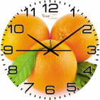 """Часы настенные """"Апельсиновый рай"""" Ø28см стеклянные"""