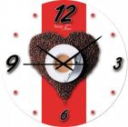 """Часы настенные """"Утренний кофе"""" Ø28см стеклянные"""