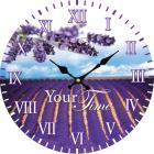 """Часы настенные """"Лавандовые поля"""" Ø28см стеклянные"""