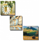 "Часы настенные ""Солнечная Тоскана"" на холсте 3х секционные"