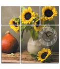 """Годинник настінний """"Соняшник і гарбуз"""" на полотні з 5 секцій"""