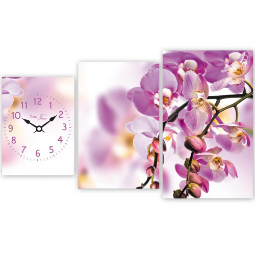 """Часы настенные """"Орхидея"""" на холсте 3х секционные"""