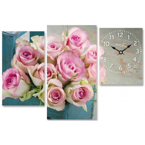 "Часы настенные ""Букет роз"" на холсте 3х секционные"