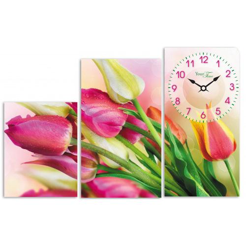 """Часы настенные """"Букет тюльпанов"""" на холсте 3х секционные"""