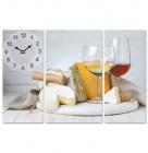 """Часы настенные """"Белое вино"""" на холсте 3х секционные"""