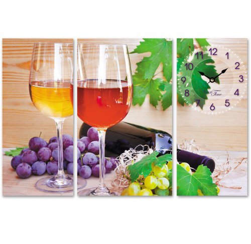 """Часы настенные """"Вино и виноград"""" на холсте 3х секционные"""