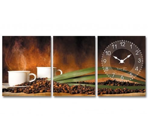 """Часы настенные """"Кофе"""" на холсте 3х секционные"""
