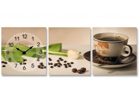 """Часы настенные """"Утренний кофе"""" на холсте 3х секционные"""