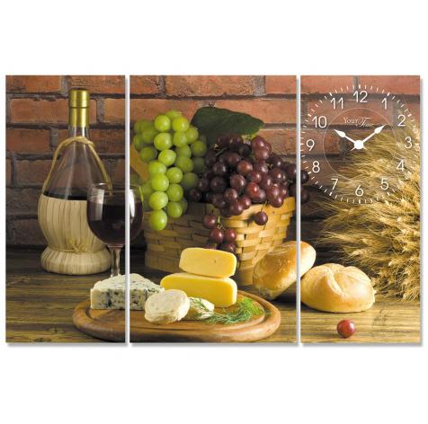 """Часы настенные """"Вино, виноград, сыр, выпечка"""" на холсте 3х секционные"""