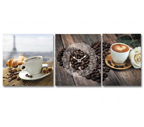 """Часы настенные """"Французский кофе"""" на холсте 3х секционные"""