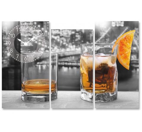 """Часы настенные """"American whiskey"""" на холсте 3х секционные"""