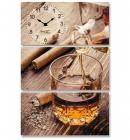 "Часы настенные ""Янтарный виски"" на холсте 3х секционные"
