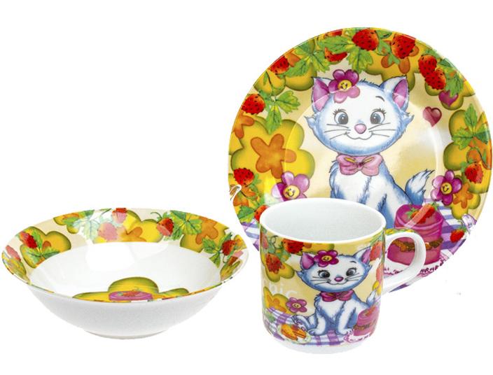"""Набор детский 3 предмета """"Кошечка"""", тарелка, пиала и кружка"""