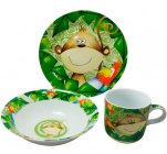 Набор детский 3 предмета Обезьянка, тарелка, пиала и кружка