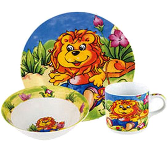 "Набор детский 3 предмета ""Львенок"", тарелка, пиала и кружка"