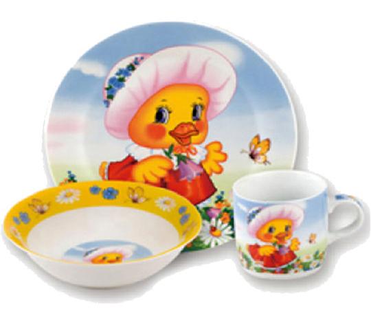 """Набор детский 3 предмета """"Уточка"""", тарелка, пиала и кружка"""
