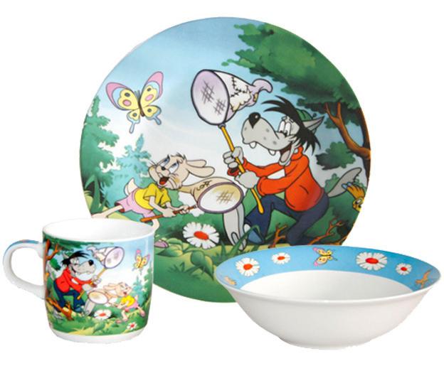 "Набор детский 3 предмета ""Ну, погоди!"", тарелка, пиала и кружка"