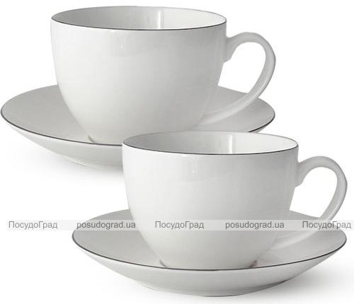 """Чайный сервиз """"Серебро"""" 280мл на 6 персон, фарфоровый"""