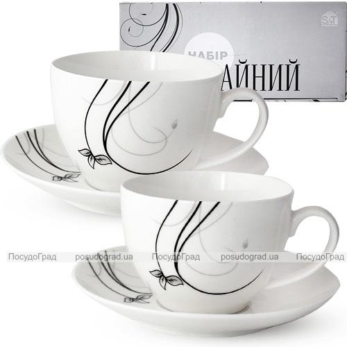 """Чайный сервиз """"Инскрипт"""" 280мл на 6 персон, фарфоровый"""