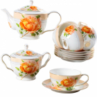 """Чайный сервиз """"Китайская Роза"""" 14 предметов 220мл, чайник и сахарница"""