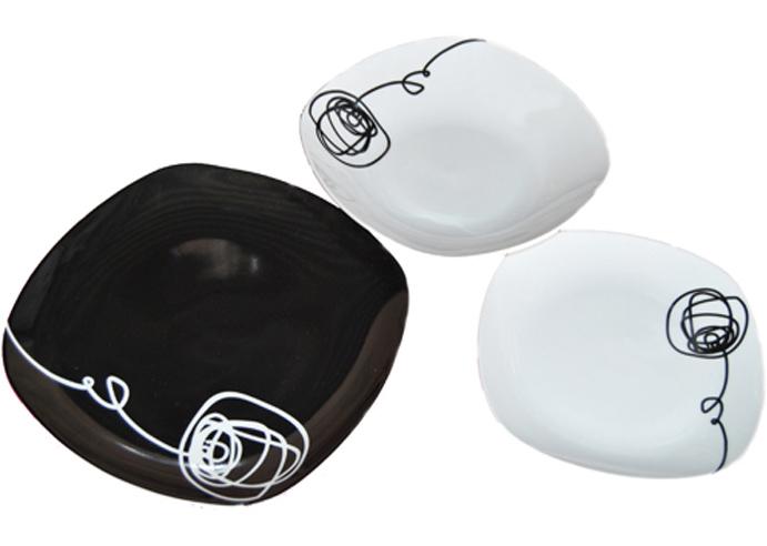 """Набор тарелок """"Black&White"""" 18 предметов на 6 персон"""