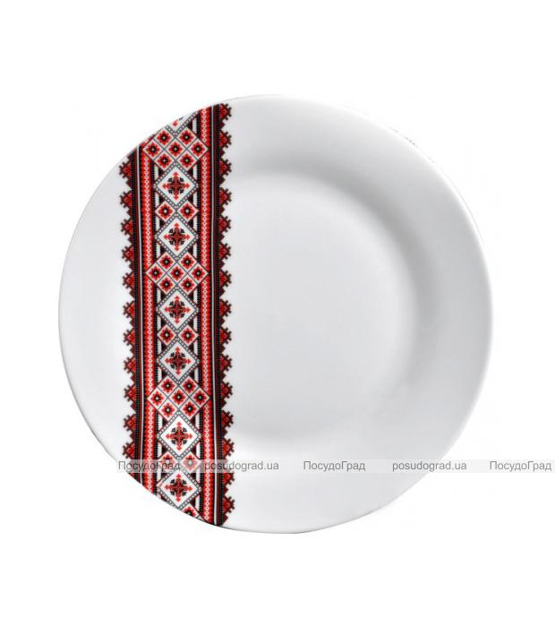"""Набор 6 десертных тарелок """"Вышиванка красное и черное"""" Ø17.5см"""