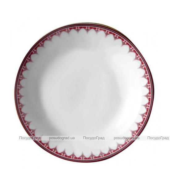 """Набор 6 мелких тарелок """"Вышиванка красный ромб"""" Ø20.5см"""
