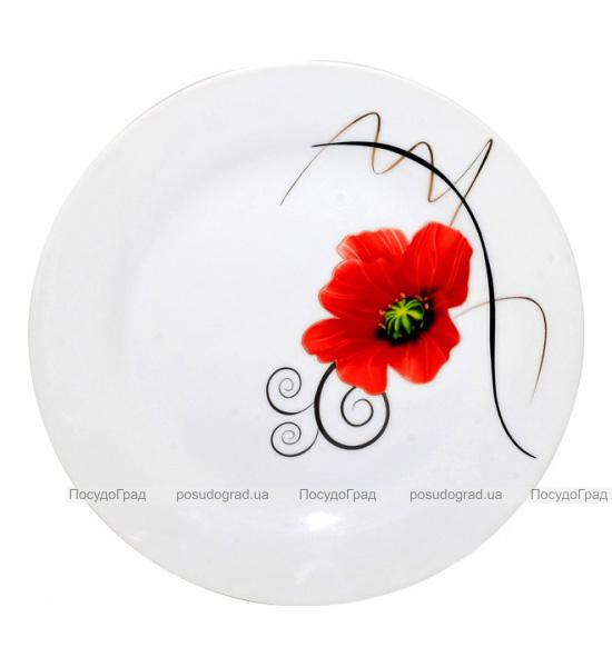 """Фарфоровая тарелка """"Мак"""" Ø20.5см мелкая"""