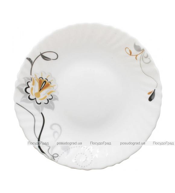 """Набор 6 десертных тарелок """"Серебряный цветок"""" Ø19см, стеклокерамика"""