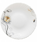 Набор 6 обеденных тарелок Серебряный цветок Ø24см, стеклокерамика