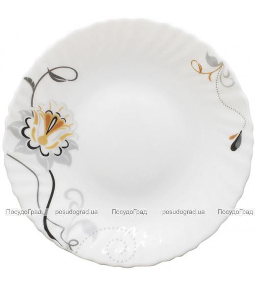 "Набор 6 обеденных тарелок ""Серебряный цветок"" Ø24см, стеклокерамика"