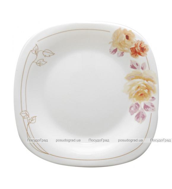 """Обеденная тарелка """"Кремовая роза"""" Ø22см, стеклокерамика"""