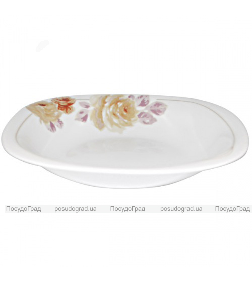 """Набор 6 тарелок для первого """"Кремовая роза"""" Ø23см, стеклокерамика"""