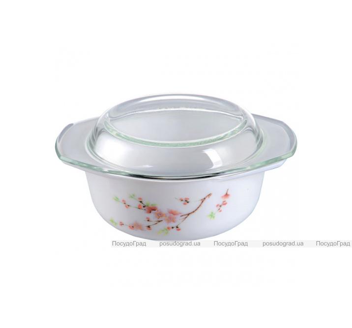"""Кастрюля """"Японская Вишня"""" 1л из стеклокерамики со стеклянной крышкой"""