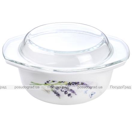 """Кастрюля """"Лаванда"""" 1.5л из стеклокерамики со стеклянной крышкой"""