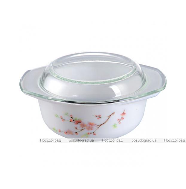 """Кастрюля """"Японская Вишня"""" 1.5л из стеклокерамики со стеклянной крышкой"""