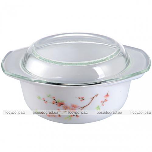 """Кастрюля """"Японская Вишня"""" 2.5л из стеклокерамики со стеклянной крышкой"""