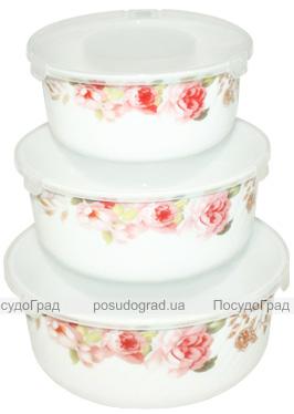 "Набір 3 салатника ""Версаль Троянди"" Ø14см, Ø16.5см і Ø19см з кришками, склокераміка"
