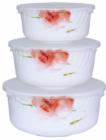 """Набір 3 салатника """"Квіткова акварель"""" з кришками, склокераміка"""