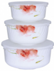 """Набор 3 салатника """"Цветочная акварель"""" с крышками, стеклокерамика"""