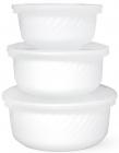 Набор 3 салатника White Waves с крышками Ø12.5см, Ø15см, Ø18см, стеклокерамика